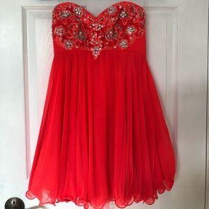 Coral Strapless Flowy Dress